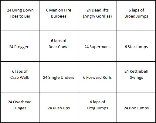 Kid Fit Bingo Card 1